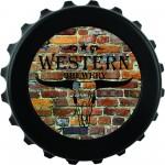 """3"""" Round Black Bottle Cap Opener Logo Branded"""