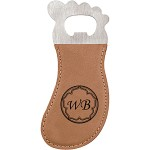 Promotional Light Brown Leatherette Foot-Shaped Bottle Opener with Magnet, Laserable