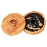 "6 1/4"" Round Bamboo 4-Piece Wine Tool Set Custom Imprinted"
