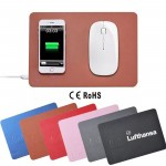 Ultra-Slim Leather Qi Wireless Charging Pad Mouse Mat Custom Printed