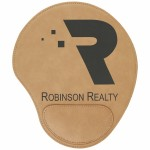 Logo Branded Light Brown Leatherette Mouse Pad