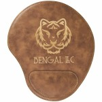 Custom Imprinted Rustic/Gold Leatherette Mouse Pad