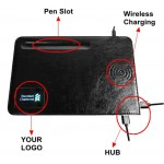 Leather Wireless Charging Mouse Pad with Pen Slot and HUB 5W Custom Imprinted