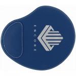 "9"" x 10 1/4"" Blue/Silver Laser engraved Leatherette Mouse Pad Logo Branded"