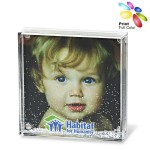 Promotional Acrylic Square Photo Frame Block with Water & Glitters