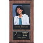 """6"""" x 10"""" Walnut Plaque w/ Magnetic Photo Holder and Plate Custom Imprinted"""