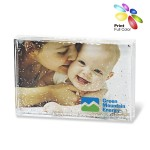 Custom Imprinted Acrylic Rectangle Photo Frame Block with Water & Glitters
