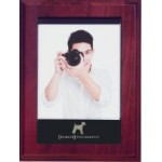 """6"""" x 8"""" Mahogany Plaque w/Magnetic Photo Holder and Plate Custom Printed"""