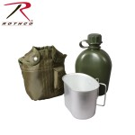 Custom Imprinted GI Type Olive Drab 1 Quart Plastic Canteen w/Cover & Cup