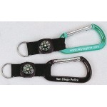 Custom Imprinted Carabiner w/Compass Strap - Blue