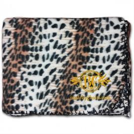 "Logo Branded 50""X60"" Whipstitch Fleece Blanket - Leopard Print"