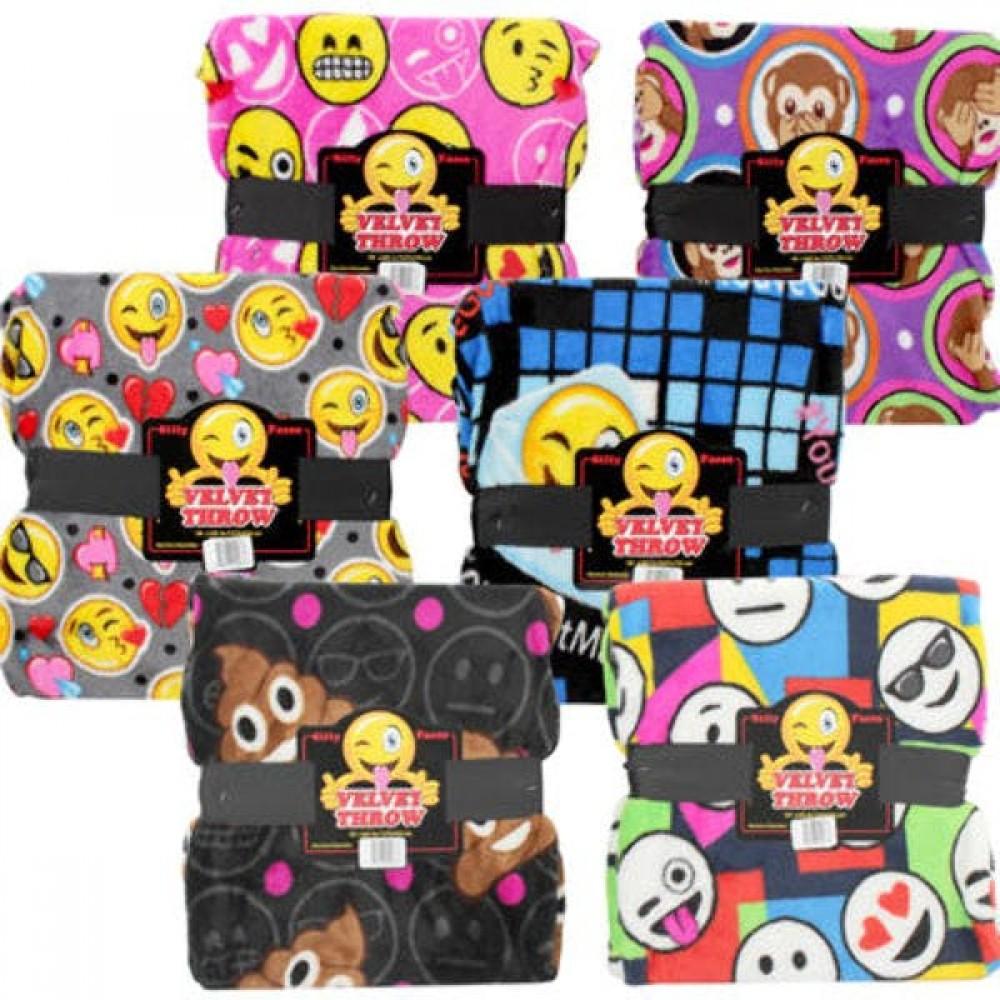 50 X 60 Velvet Fleece Emoji Throw - Assorted Custom Embroidered
