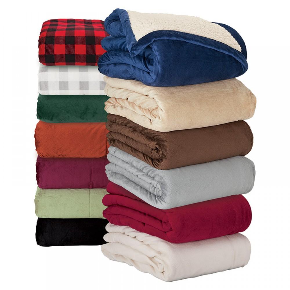 Brookline Micro Mink Sherpa Blanket Custom Imprinted