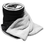 60x72 Oversized Micro Mink Sherpa Blanket- Black Custom Embroidered