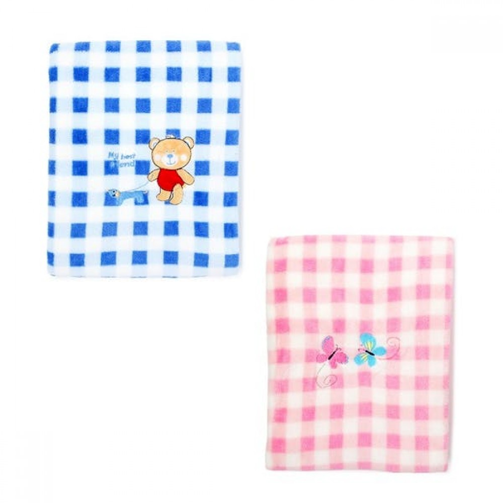 Custom Imprinted Baby Gingahm Blanket with Embroidery - Pink & Blue (Case of 24)