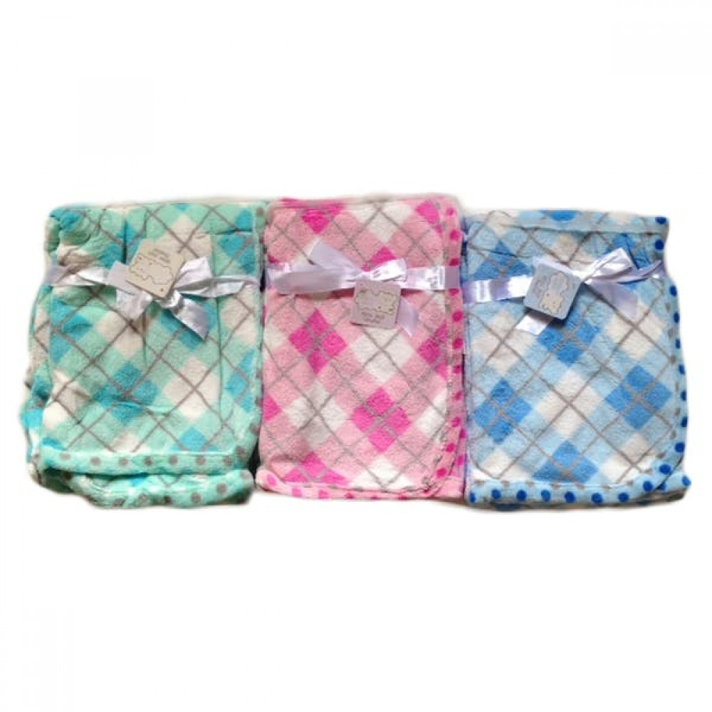 Baby Blankets with Checkered Embroidery Custom Imprinted