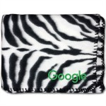 "50""X60"" Whipstitch Fleece Blanket - Zebra Print Logo Branded"