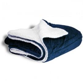 Micro Mink/Sherpa Blanket 50 x 60 - Navy (Case of 12) Custom Imprinted