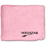 "Custom Imprinted 50""X60"" Whipstitch Fleece Blanket - Pink"