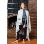 Herringbone Wool Blanket (Leatherette Patch) Custom Embroidered
