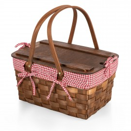 Custom Printed Kansas Handwoven Wood Picnic Basket