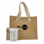 Aloe Up Jute Beach Bag with White Collection Sunscreen Custom Printed