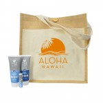 Promotional Aloe Up Cotton/Jute Tote Bag with Sport Sunscreen