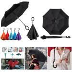 Inverted Umbrella Double-Layer Standing C-Shaped Long Handle Car Umbrella Custom Printed