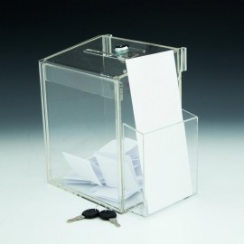 Logo Branded Clear Acrylic Locking Suggestion / Coin Box with Pocket