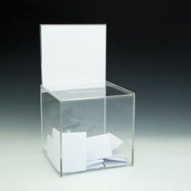 """8"""" Clear Acrylic Ballot / Suggestion Box with Sign Holder Custom Imprinted"""