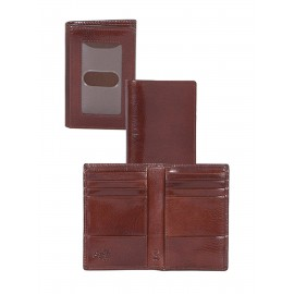 Italian Leather Bi-Fold Pocket Wallet w/ RFID Theft Protection & Rear ID Window Custom Imprinted