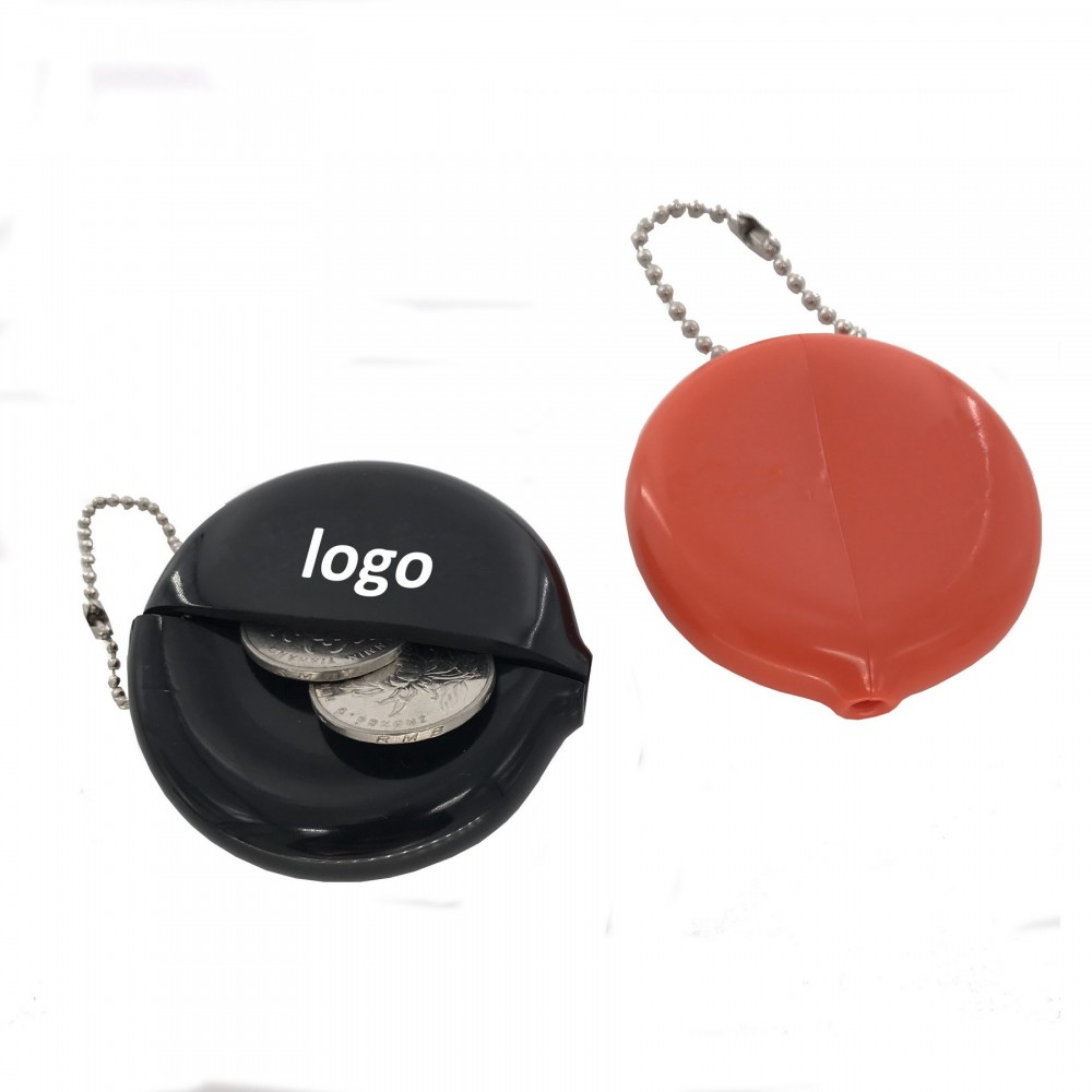 Circular PVC Coin Pouch/Coin Case with Chain Logo Branded