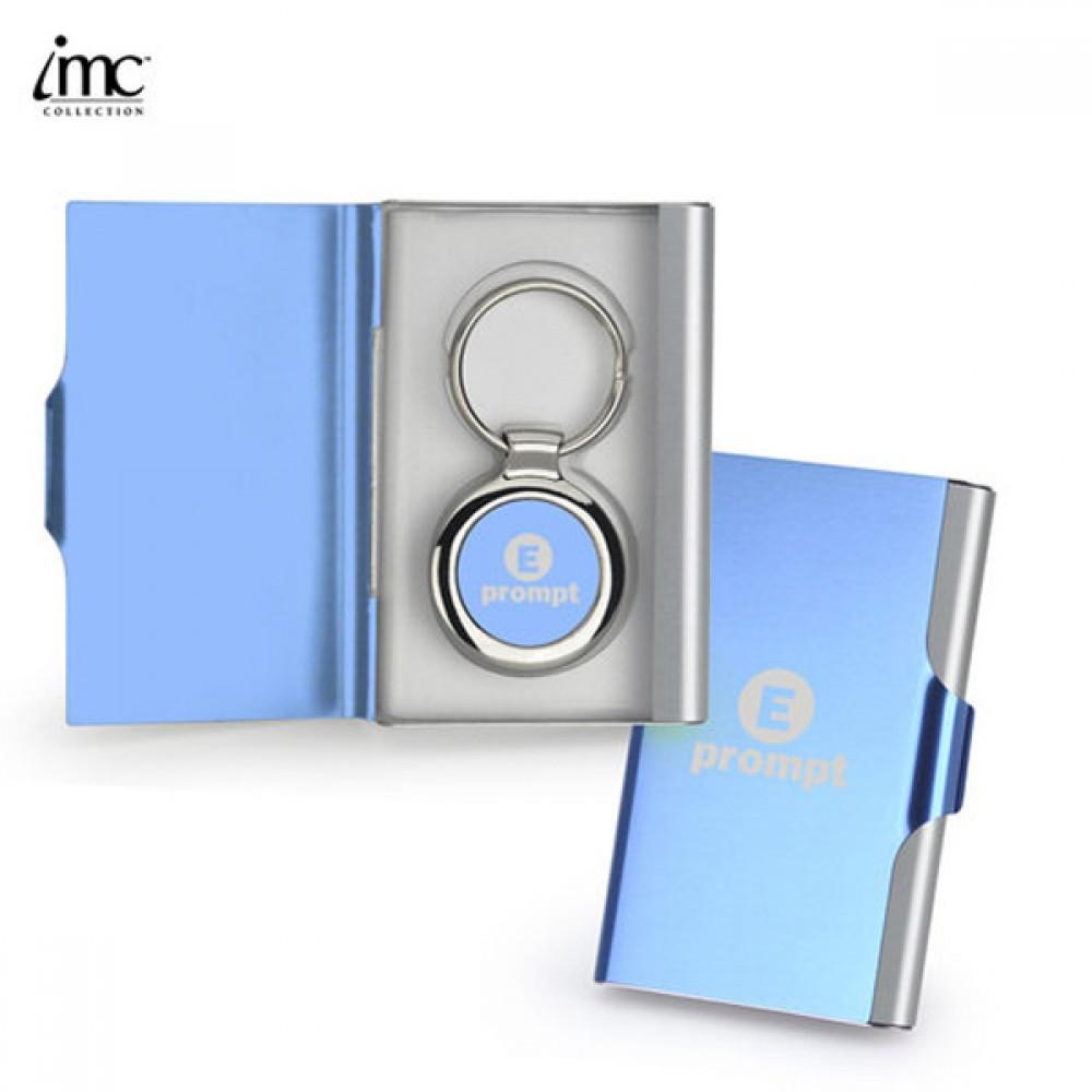 Custom Imprinted Aluminum Key Card Case w/ Keychain