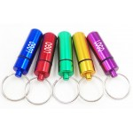Logo Branded Aluminum Pill Holder w/Keychain