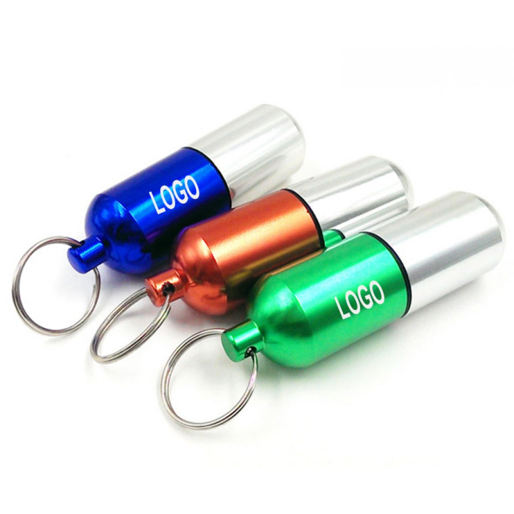 Custom Printed Two-tone Aluminum Pill Bottle W/Keyring
