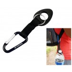 Custom Imprinted Black Aluminum Carabiners With 6mm Thick Water Bottle Holder Attachment