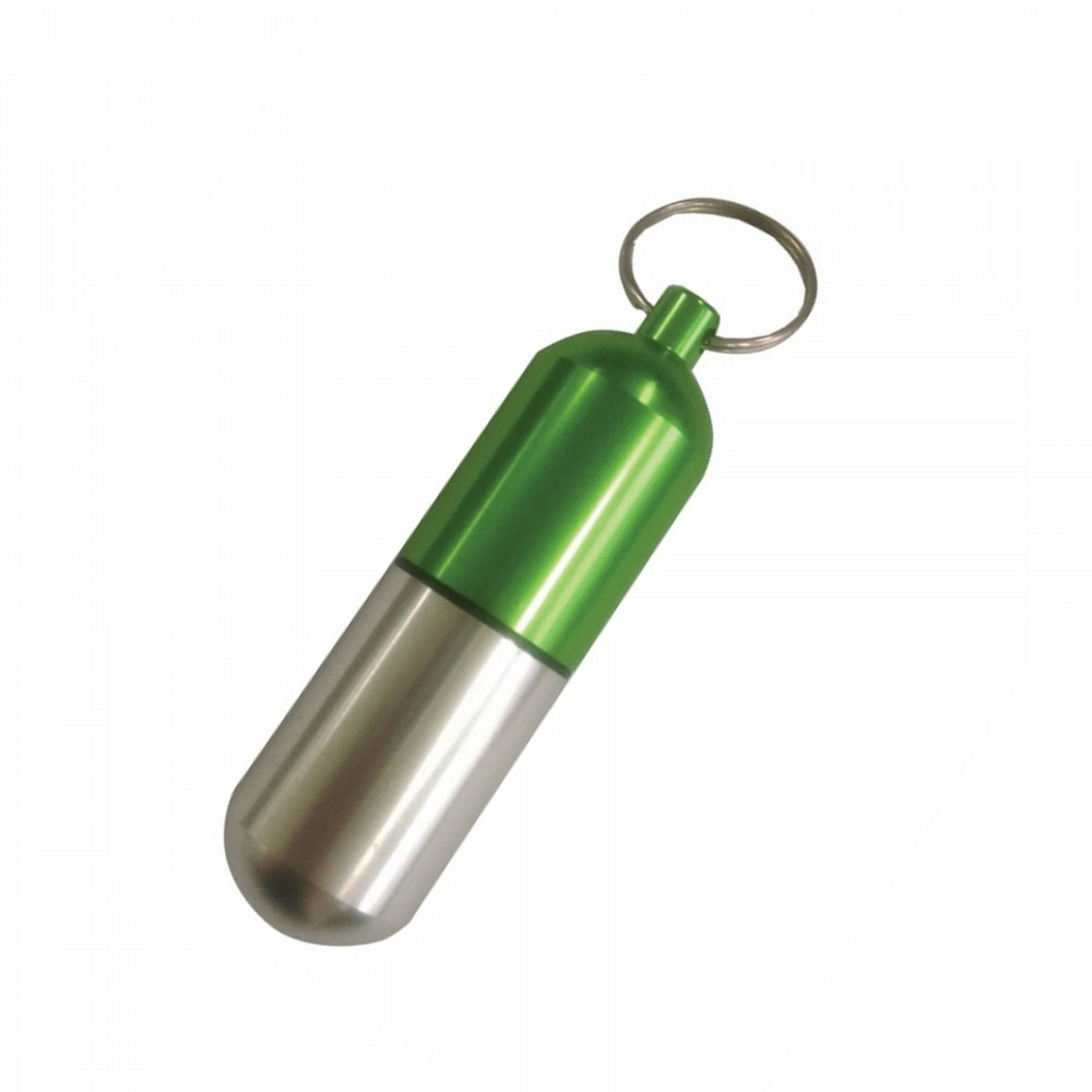 Capsule Shape Pill Holder with Key Chain Custom Printed