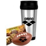 Custom Printed Football Stress Ball w/Travel Mug Set