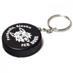 Custom Imprinted Hockey Puck Stress Reliever Keychain
