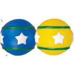 Custom Imprinted Rubber Round Ball Dog Toy© (Yellow/ Green & Blue/ Green)
