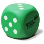 Green Dice Stress Reliever Custom Imprinted