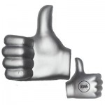 Silver Thumbs Up Stress Reliever Logo Branded