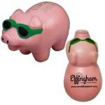 Pig Stress Reliever w/ Green Sunglasses Custom Printed