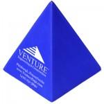 Custom Printed Blue Pyramid Stress Reliever