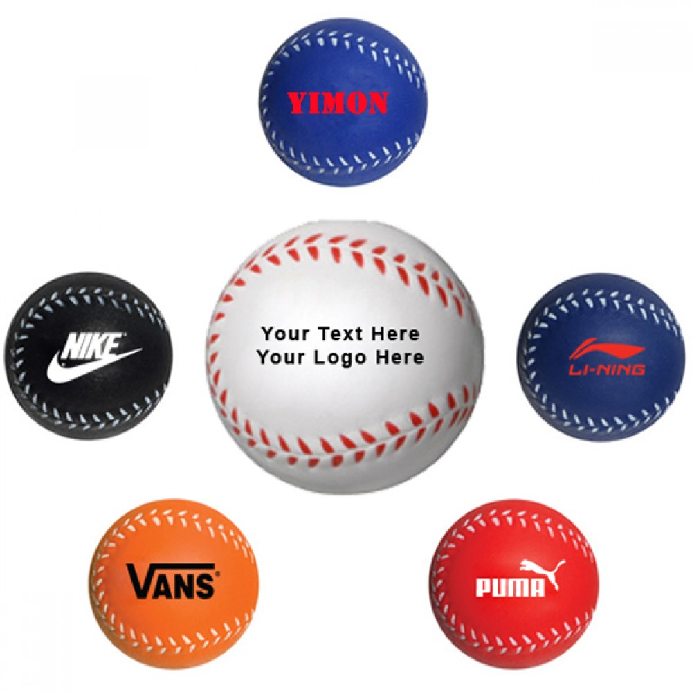 Custom Imprinted Baseball Style Stress Reliever / Fun Toy