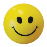 "Logo Branded 2 1/2"" Yellow Smile Face Stress Ball"