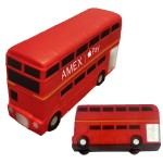 Red Double Decker Bus Stress Reliever - Silver Detail Logo Branded