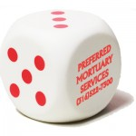 White Dice Stress Reliever Custom Printed