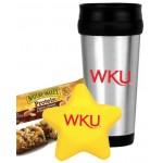Star Stress Ball w/Travel Mug Gift Set (Yellow) Custom Printed
