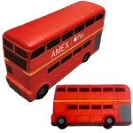 Red Double Decker Bus Stress Reliever - Gray Detail Custom Imprinted